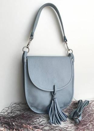 🐦натуральная сумка женская голубая фиалка иралия genuine leather  на плечо длинный ремешок серый с кисточкой небесный vera pelle