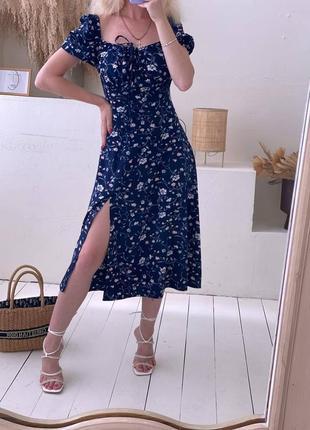 Синее платье  миди цветочный принт