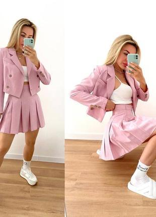 Стильный льняной костюм юбка и кроп пиджак