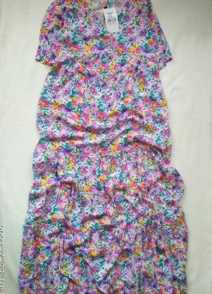 Новое ярусное миди  платье в цветочный принт