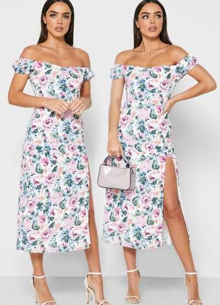 Распродажа платье fashion union миди/макси с цветочным принтом и открытыми плечами с asos