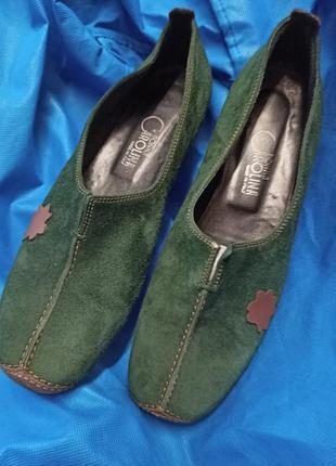 Комбинированные замшевые туфли,39,5-40разм,donna carolina.
