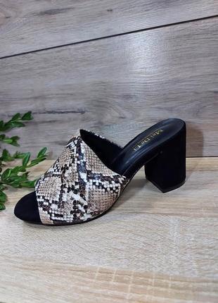 Идеальные шлепанцы 🌿 на каблуке квадрат классика сандалии рептилия