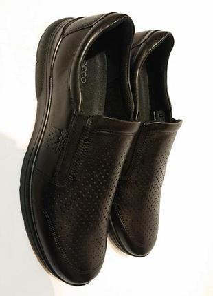 Мужские кожаные туфли ecco us12 46р мокасины слипоны летние туфли