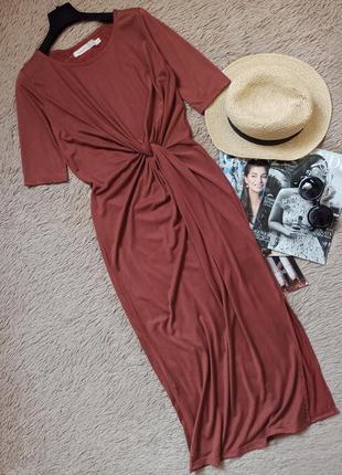 Шикарное платье-футболка миди с узлом и разрезом/плаття/сукня