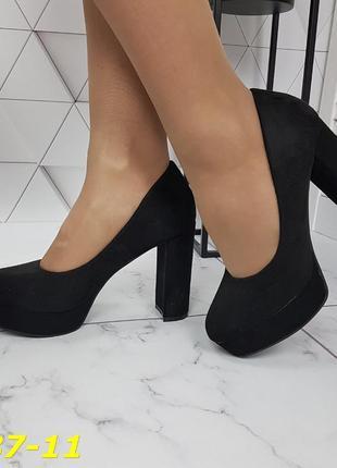 Шикарные туфли замшевые на высоком каблуке и танкетке, женские туфли на устойчивом каблуке, туфли замшевые  чёрные