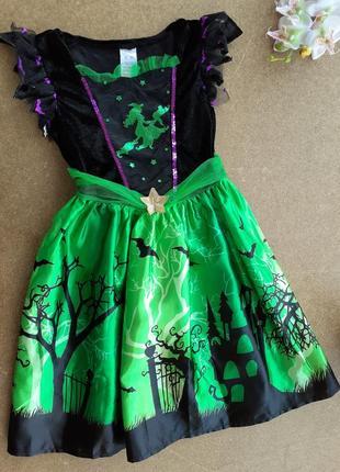 Карнавальное платье, шляпка 5-6 лет ведьмочка баба яга чародейка