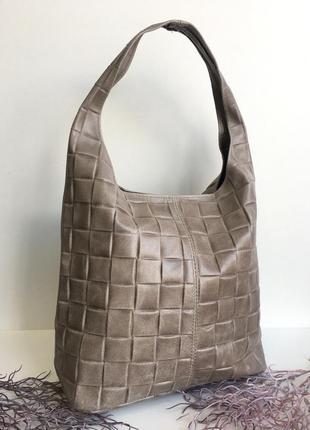 Сумка шоппер натуральная кожа genuine leather италия коричневая бежевая мулатка большая vera pelle сумка-мешок