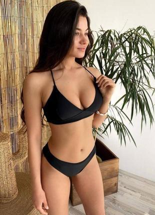 Женский чёрный купальник zara с чашечками пушап купальник с высокими плавками купальник не дорого