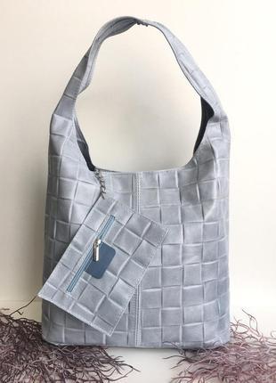Итальянская сумка натуральная кожа шоппер сумка-мешок голубая на плечо genuine leather италия фиалка серый стёганая vera pelle