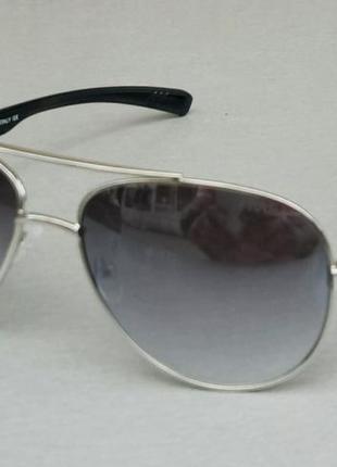 Prada очки капли мужские солнцезащитные серые металлик зеркальные в серебристом металле
