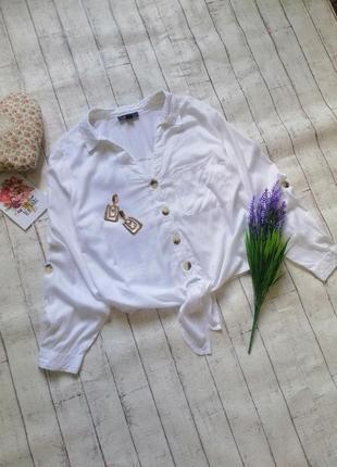 Стильная блуза на пуговках с узлом большого размера