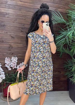 Платье свободного прямого кроя в мелкий цветочный принт. батал