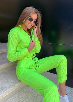 Спортивный женский летний легкий яркий прогулочный костюм неон штаны и кофта
