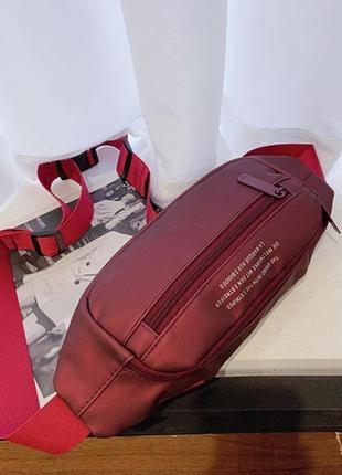 Бананка adidas red барсетка красная поясная сумка адидас женская / мужская4 фото