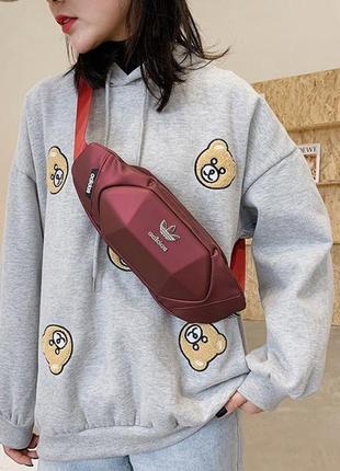 Бананка adidas red барсетка красная поясная сумка адидас женская / мужская2 фото