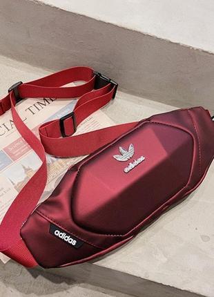 Бананка adidas red барсетка красная поясная сумка адидас женская / мужская