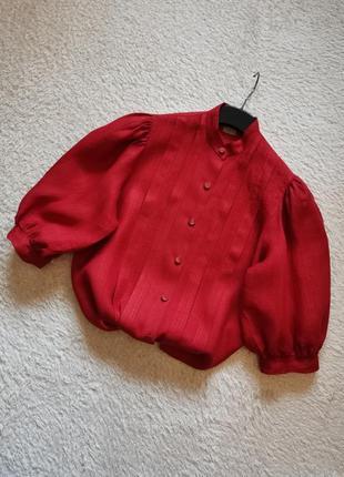 Льняная рубашка объемный рукав буф льняная блуза