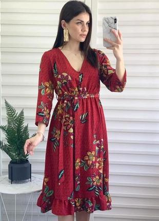 Актуальное миди платье в цветочный принт