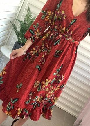 Актуальное миди платье в цветочный принт2 фото