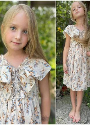 Поплиновое красивое платье  zara c блеском 7-8 лет