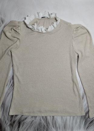 Шикарный свитер в рубчик с ажурным воротником 174в
