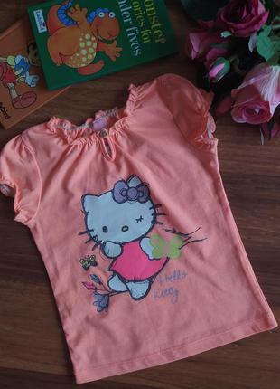 Классная футболка для малышки hello kitty на 9-12 мес.