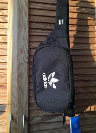 Новая чёрная унисекс сумка бананка adidas originals
