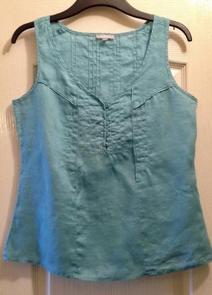 Лляная майка/топ/блуза бирюзового цвета