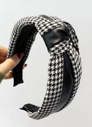 Черно белый обруч для волос ободок принь гусиная лапка 2