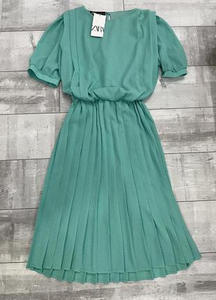 Платье миди в горох бирюза zara
