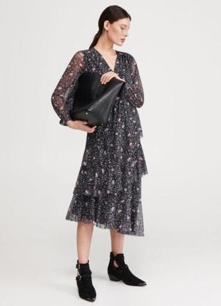 Красивое фатиновое платье миди reserved ярусами.