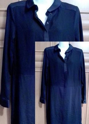 Чёрное, прямое, платье, рубашка, минимализм, трикотаж, джерси. размер 46, 48, стиль cos