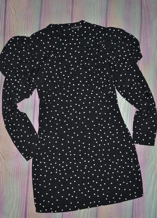 Стильное платье в горох 44-46 размер