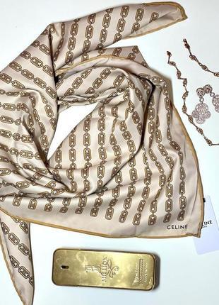 Шикарный шёлковый платок шарф в стиле celine