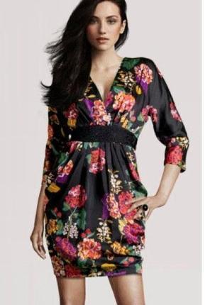 1+1=3 красивое черное платье футляр цветочный принт h&m, размер 46 - 48