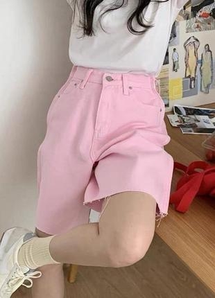 Джинсовые шорты розовые оверсайз мом
