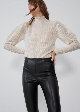 Кожаные штаны лосины zara2 фото