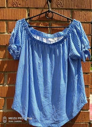 Невесомая блуза, туника в полоску в стиле кармен от h&m