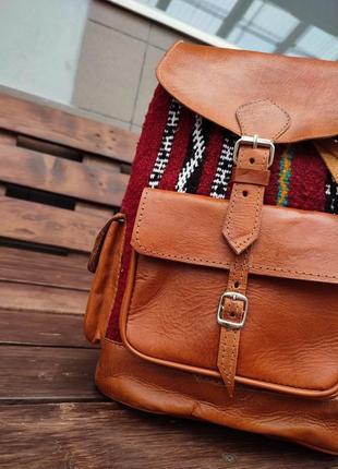 Стильный крафтовый рюкзак из кожи верблюда с вышивкой индия ручная работа