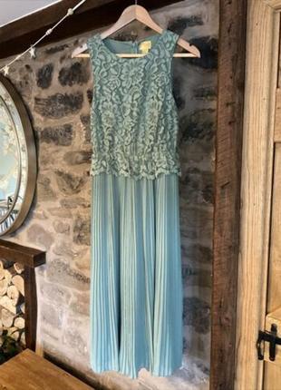 Красивое кружевное плиссированное вечернее платье миди h&m
