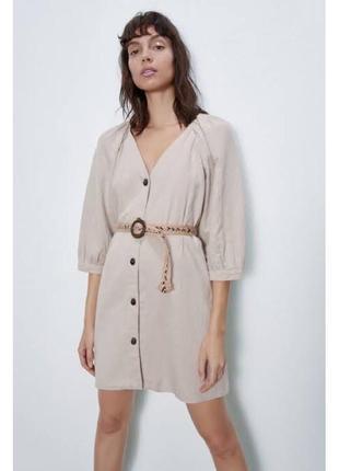 Платье льняное zara m