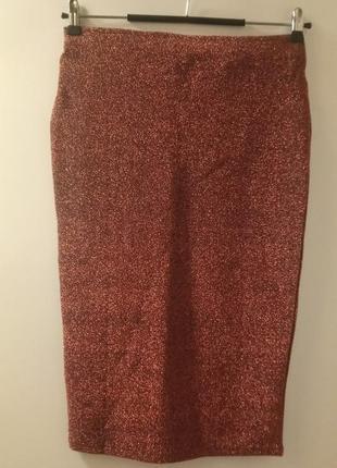 Бронзовая юбка карандаш люрекс