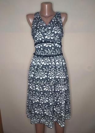 Платье гипюровое в цветах сарафан праздничное миди мом пышное черное белое
