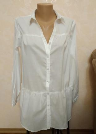 Батистовая рубашка блуза длинная свободного покроя