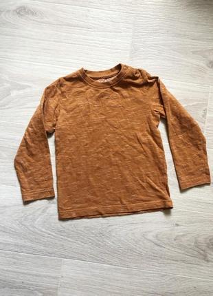 Кофта футболка горчичная с длинным рукавом