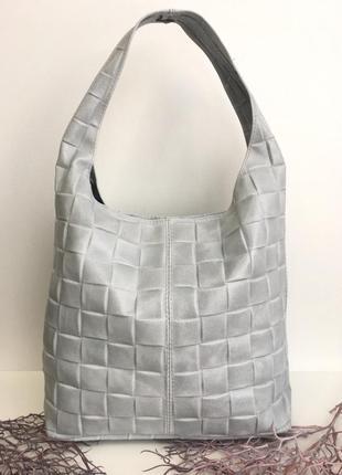 Кожаная сумка шоппер серая genuine leather,🇮🇹 италия стёганая натуральная кожа на плечо сумка-мешок светлая серый с белым мышиная vera pelle