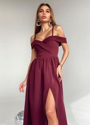 Шикарное вечернее бордовое платье