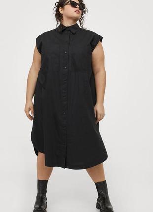 Платье-рубашка без рукавов