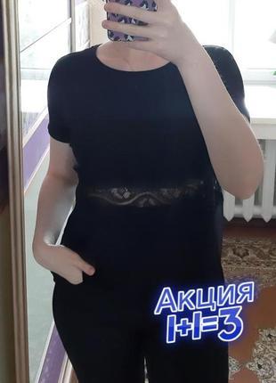 1+1=3 черная женская футболка с кружевом и сеткой на спинке vero moda, размер 48 - 50
